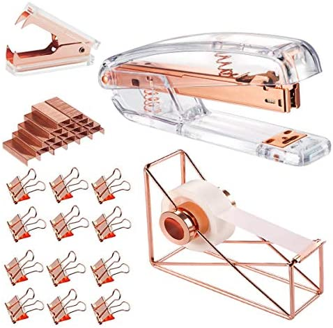 Staples and 10 Pieces Blinder Clips for Home School Office Supplies Stationery Desk Supplies Set of Acrylic Desktop Stapler Rose Gold Desk Accessory Kit Staple Remover Tape Dispenser