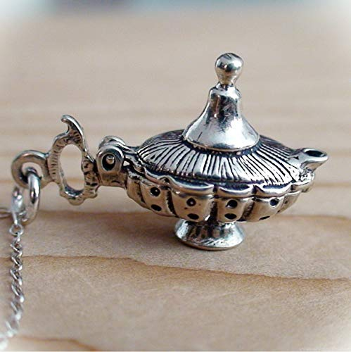 Genie Lamps Wholesale (Genie Lamp Movable Charm Statement Chunky Pendant Rhinestone Necklace for Women Silver 3 Wishes)