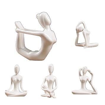 IPOTCH 5X Cerámica Figura De Yoga Ornamento Estatua ...