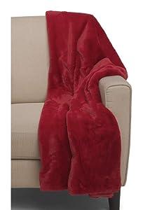 Max Studio Faux Fur Throw Blanket Plush Lightweight Blanket Red