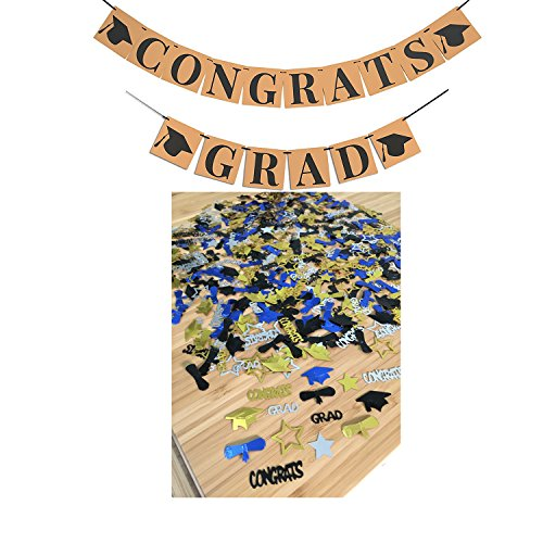 CONGRATS GRAD BANNER SIGN CONFETTI - Perfect Graduation Decorations | Graduation Party Supplies for Grad Party | Graduation BANNER | Graduation CONFETTI and Hat Decor, 6.3x6.3Inch