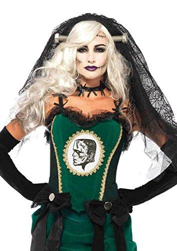 [Leg Avenue Women's Bride of Frankenstein Veil Costume Accessory, Black, One Size] (Black Veil Bride Costume)