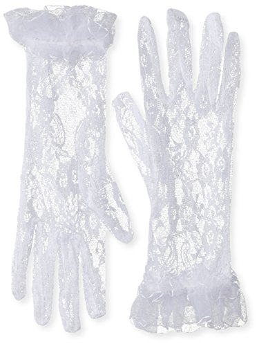 Mid Arm Length Lace Gloves (Be Wicked Women's Mid Arm Lace Gloves, White, One Size)