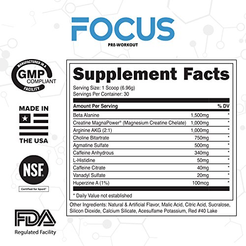 FOCUS ✮ Pre-Workout Supplement ✮ PATENTED Creatine MagnaPower ✮ Best For Strength, Energy, and Endurance ✮ 30 servings