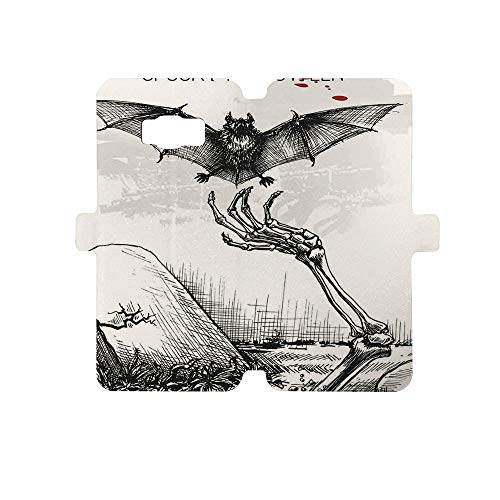 Painted Galaxy S8 Case - Premium Protective Cover Phone Cases for Girls,Halloween Decorations,Dead Skull Zombie Out Grave and Flying Bat Hand Drawn Spooky Picture,Black -