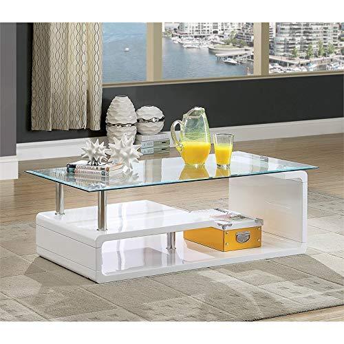 Furniture of America Velencia Modern Glass Coffee Table in White by Furniture of America