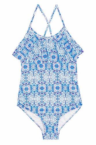 Seafolly Big Girls' Ruffle Tank One Piece Swimsuit, Blue Tile, 12 (Tank Ruffle Swimsuit)