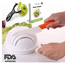 Salad Cutter Bowl: Superior Manufacture Vegetable Chopper, Slicer & Dicer/ Sturdy Eco Plastic, FDA-Approved, Ergonomic Handle Cutting Salad Bowl To Cut Veggie & Fruit In 60 Seconds
