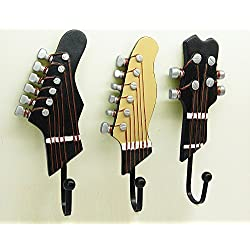 KUNGYO Vintage Guitar Shaped Decorative Hooks Rack Hangers for Hanging Clothes Coats Towels Keys Hats Metal Resin Hooks Wall Mounted Heavy Duty (3-Pack)
