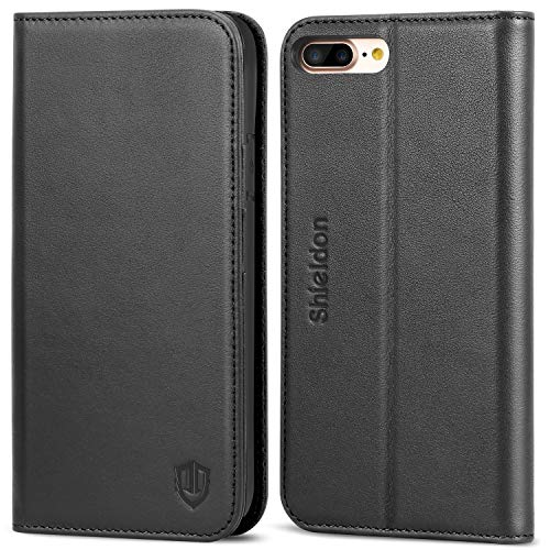 SHIELDON Genuine Leather iPhone 8 Plus Wallet Case Book Flip Cover and [Credit Card Slot] Magnetic Closure Compatible with iPhone 8 Plus / 7 Plus - Black ()