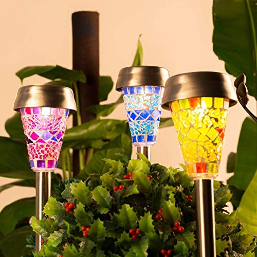 - GIGALUMI Solar Garden Lights Outdoor, 3 Color Mosaic Lampshade LED Garden Lights, Landscape/Pathway Lights for Path Walkway Driveway Patio Yard Stainless Steel-3 Pack