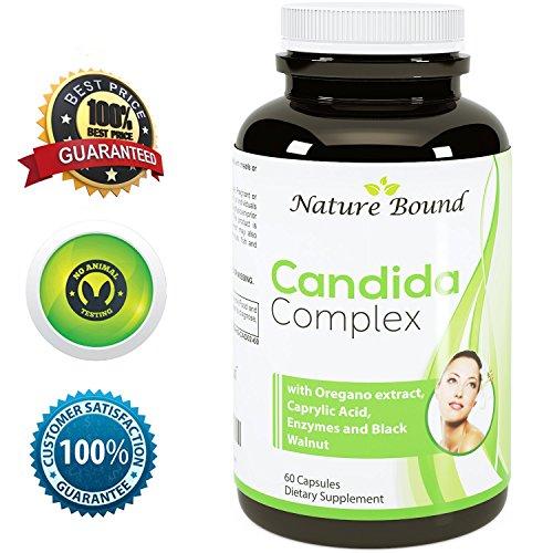 Pure Candida Cleanse + extrait acide caprylique & origan ● Super Detox - Dosages puissant ● Support interne bien-être ● protéase et supplément d'Enzymes Cellulase - USA faite par Nature lié