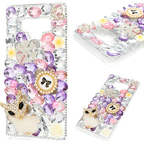 Hard Case Plastic Bling (Samsung Galaxy Note 9 Case, Mavis's Diary Full Edge 3D Handmade Luxury Bling Crytal Fashion Design Shiny Gem Pearl Rhinestone Diamond Clear Hard Protective Plastic PC Cover - White-haired Fox)
