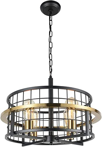 Baiwaiz Premium Gold Modern Dining Room Drum Chandelier