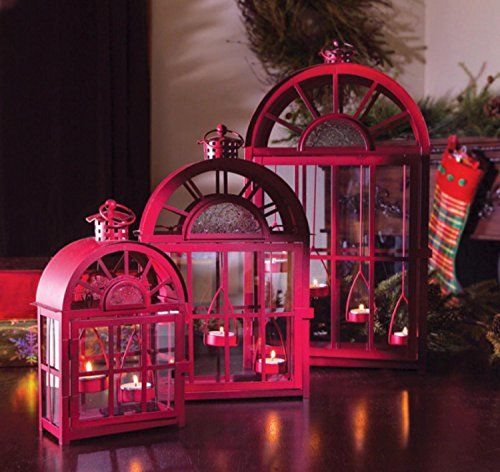 Set of 3 Eco Country Red Christmas Tea Light Candle Lanterns by Melrose (Image #3)