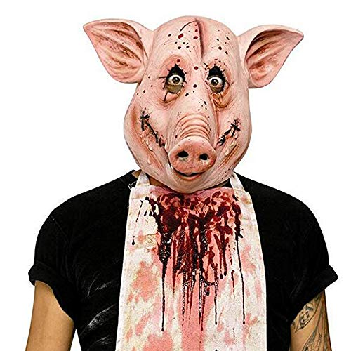 Scary Halloween Pig Mask Adult's and Children Halloween Costume Party Latex Animal Head Mask -