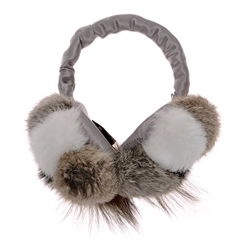 ZLYC Women Fashion Luxurious Rex Rabbit Fur Adjustable Earmuffs Bowknot Earwarmer, Gray by ZLYC (Image #2)