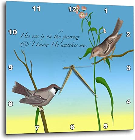3dRose DPP_184179_1 His Eye is on The Sparrow, Gospel Hymn Illustrated with Two Sparrows Wall Clock, 10 by 10-Inch