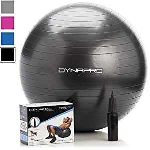 Exercise Ball - 2,000 lbs Stability Ball - Professional Grade – Anti Burst Exercise Equipment for Home, Balance, Gym, Core Strength, Yoga, Fitness, Desk Chairs (Black, 55 Centimeters)