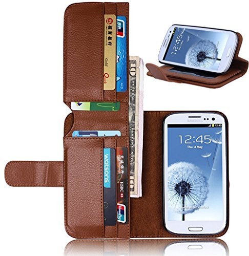 Vandot Samsung Galaxy S3 I9300 Wallet Phone case,Luxury Litchi Texture PU Leather Book Style Bag Cover With Card Slots,Flip Folio Stand Magnetic Closure [Slim Fit] [Anti-scratch] Protective Pattern-Brown
