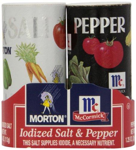 (Mortons Salt 4 Ounce/McCormick Pepper 1.25 Ounce Double Pack, 5.25 Ounce)