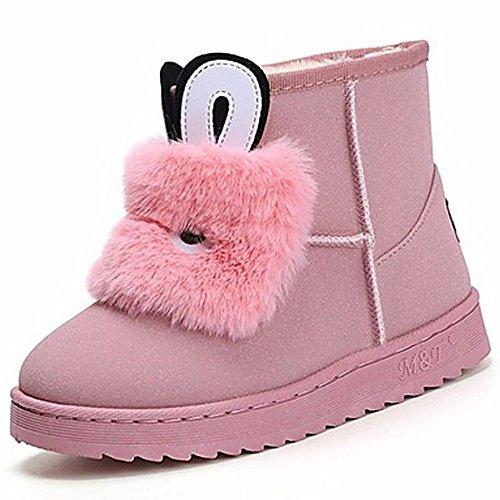 ZHUDJ Damen Schuhe Winter Stiefel Round Toe Mid-Calf Stiefel Für Casual Rosa Grau Schwarz Pink