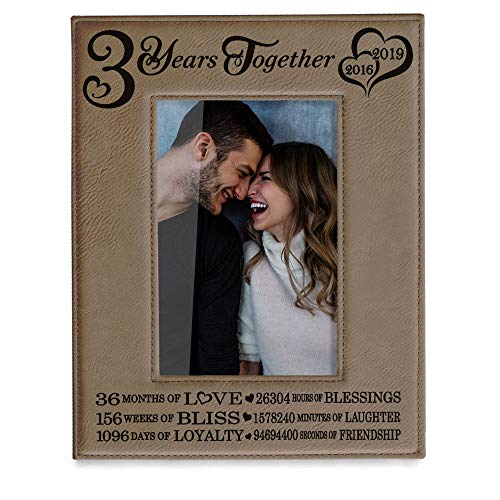 Kate Posh - 3 Years Together (2016-2019) Engraved Leather Picture Frame, 3rd Anniversary for Boyfriend, Girlfriend, 3 Years as Husband and Wife, 3 Years of Marriage, Gifts for Couple (4x6-Vertical)