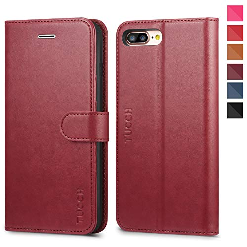 TUCCH iPhone 8 Plus Case, iPhone 7 Plus Wallet Case, Magnetized Closure Card Slots Money Pouch, PU Leather Purse Cover Flip Book [TPU Interior Case] Compatible with iPhone 8 Plus/7 Plus, Red (Cover Book Case Iphone)
