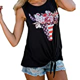 Leedford Tank Tops,Women Summer Printed Vest Top Blouse Casual Tank Top T-Shirt (M, Black 2)