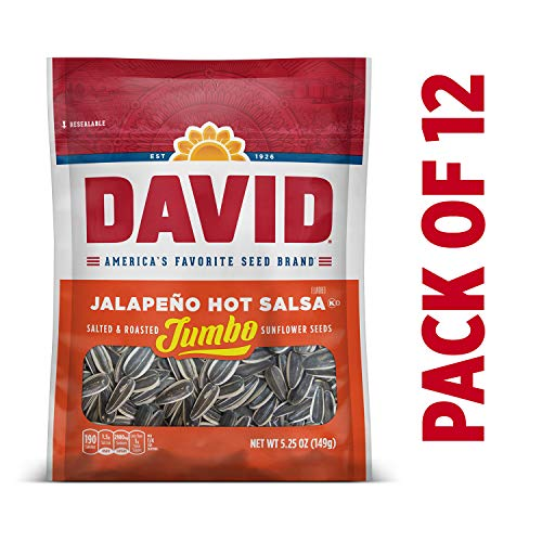 DAVID Roasted and Salted Jalapeño Hot Salsa Jumbo Sunflower Seeds, 5.25 oz, 12 Pack
