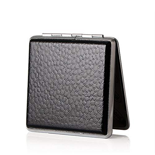KISEER Leather Double Sided Open Cigarette Case Box Holder for 20 Cigarettes (Black)