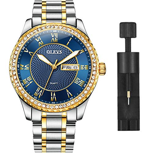 OLEVS Luxury Diamond Deep Blue Watches for Men, Calendar Water Resistace Luminous Stainless Steel Band Mens Watches, Gift for Father Son Business Casual Wristwatches Brand Watch New (Best Mens Luxury Watches 2019)