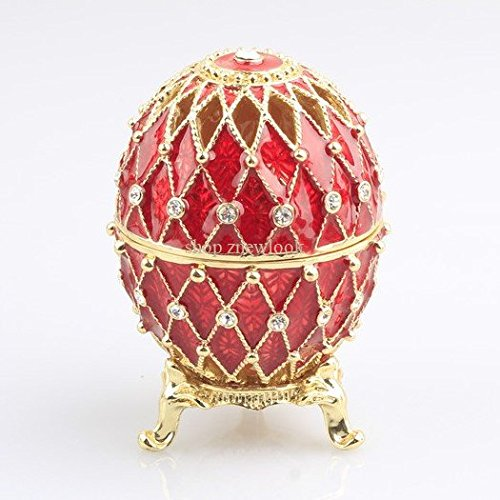 znewlook Decoration Hollow Russia Eggs Trinket Box Vintage Sculpture Home Display Gold Plated Easter Egg Magnet Metal Crafts (Red)
