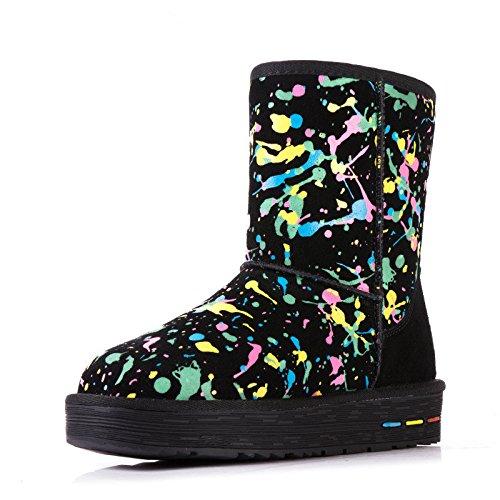 Antiscivolo Stampati Uno Spessore Caldo Cotone Di Scarpe Boots Snow Alla Fine In Black zq0x5