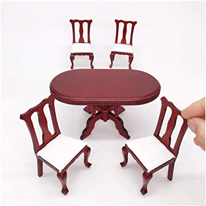 1//12 Wooden Dollhouse Miniature Furniture Mini Dining Room Table /& Chair Toy