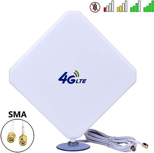 Aigital SMA 4G-Antena, 4G LTE Antena Dual Mimo 35dBi Alto Ganancia Red Ethernet Al Aire Libre Antena Receptor Amplificador Booster para WiFi Router ...
