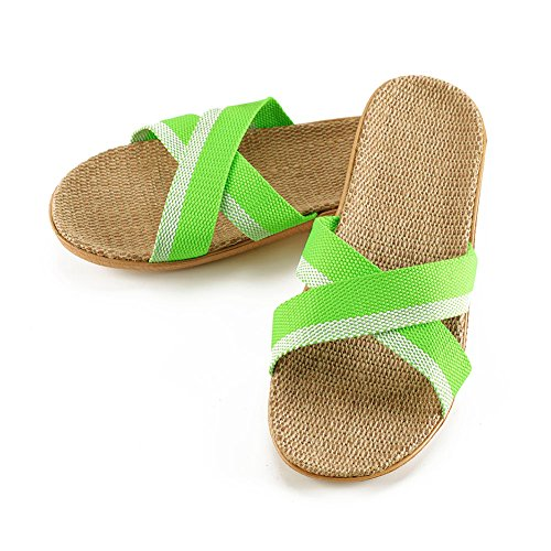 LOVE YANQI Flax Slipper Unisex Linen Summer Skidproof Indoor Slippers Open-Toe Breathable Beach Sandals -