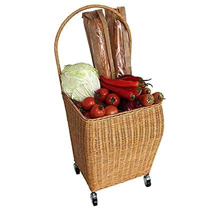 Mimbre cesta de la compra Hogar mano coche comprar un verduras pequeño Pull carrito Tire de