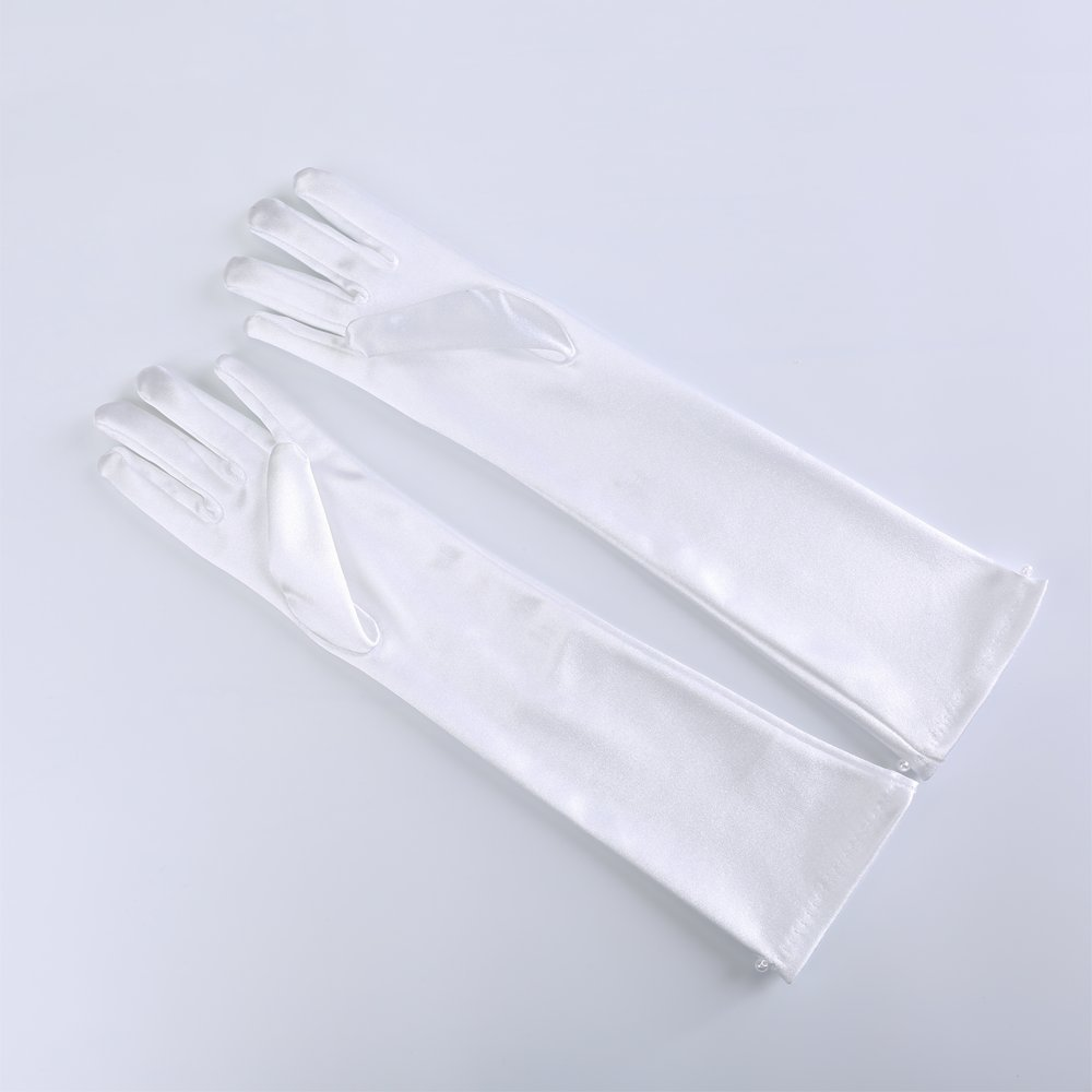 JISEN Girl Long White Beaded Satin Gloves for Wedding Party Halloween 8-10 years
