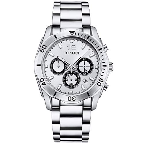 BINLUN Men's Watch Sports Chronograph Watches for Men Casual Stylish Quartz Stainless Steel Wrist Watch with Calendar Date - Silver