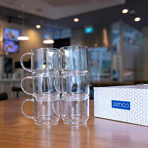 Zenco 4 oz (125ml) Espresso Coffee Glass Cups with Large Handle (Set of 6) - Perfect size for Nespresso Lungo, Single/Double Espresso, Juice or Sake