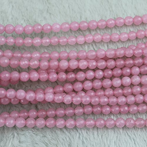6mm Faceted Round Pink Chalcedony Beads Semi Precious Loose Gemstones Stones for Jewelry Making Strand 15 Inch - Faceted Beads Chalcedony