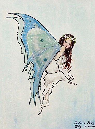 Midori's Fairy, Faerie Art, Blue Fairy Painting, Fairy Illustration (Midori Satin)