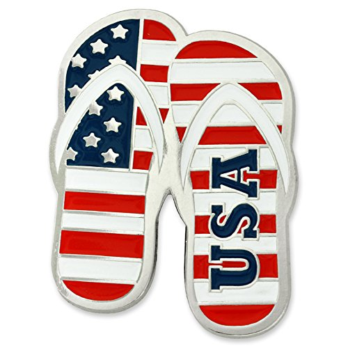 PinMart's American Flag USA Patriotic Flip Flops Enamel Lapel Pin by PinMart