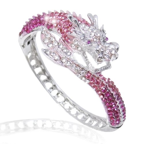 EVER FAITH Women's Austrian Crystal Cool Animal Fly Dragon Bangle Bracelet Pink Silver-Tone (Austrian Bracelet Crystal Pink)