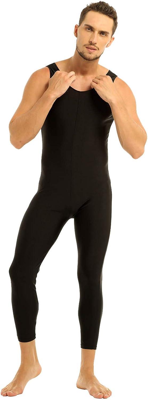 JEATHA Mens One Piece Lycra Spandex Comfty Tank Unitards Bodysuit Leotards Dance Workout Catsuit