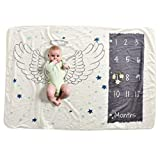 Soft Fleece Milestone Blanket Monthly Photo Prop for Baby Won't Wrinkle like Muslin Perfect for New Moms Large Size 30''x40.3'' (angle)