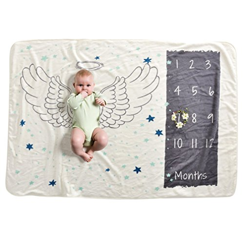 Soft Fleece Milestone Blanket Monthly Photo Prop for Baby Won't Wrinkle like Muslin Perfect for New Moms Large Size 30''x40.3'' (angle) by WHYQZ (Image #3)