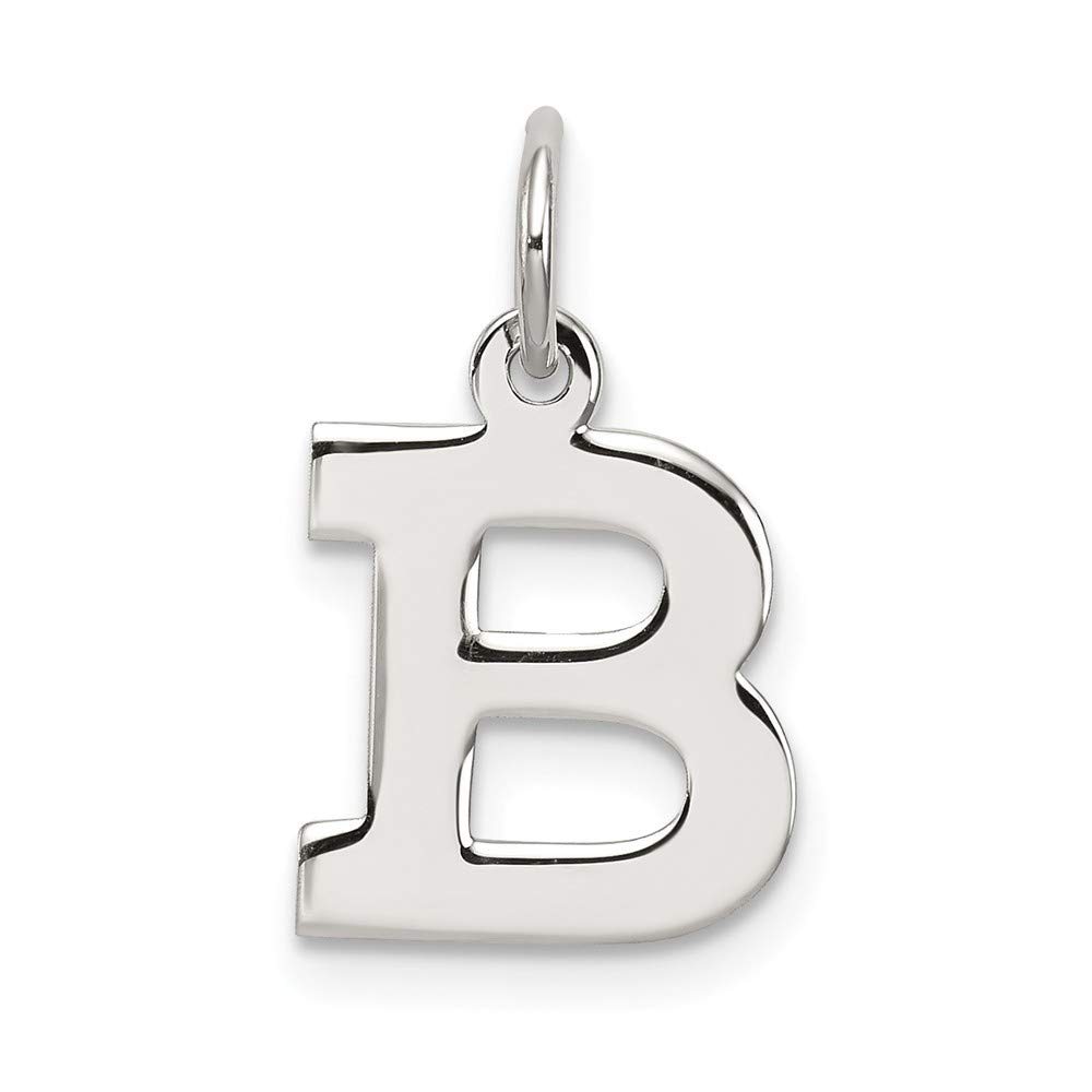 Jewelry Adviser Charms Sterling Silver Small Block Initial B Charm