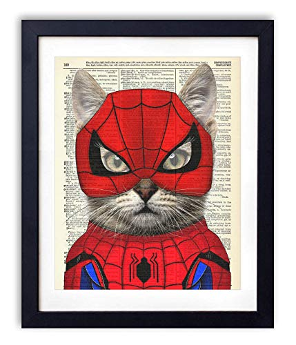Spider Cat, Spiderman Avengers Justice League Superhero Kids Bedroom Wall Decor, Vintage Wall Art Upcycled Dictionary Art Print Poster For Kids Room Decor 8x10 inches, Unframed